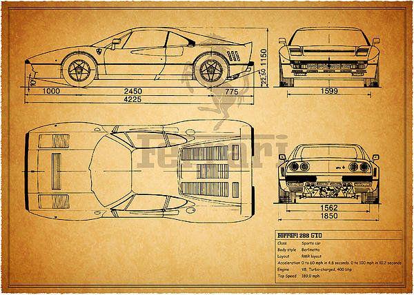 Ferrari 288 gto blueprint art print by mark rogan ferrari 288 gto blueprint print by mark rogan malvernweather Gallery