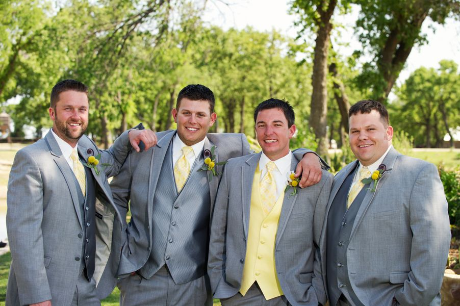 Two Shades of Grey {wedding party attire} | Yellow ties, Wedding ...