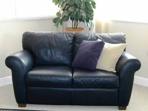 Dark Blue Leather Loveseat For Home In 2019 Blue