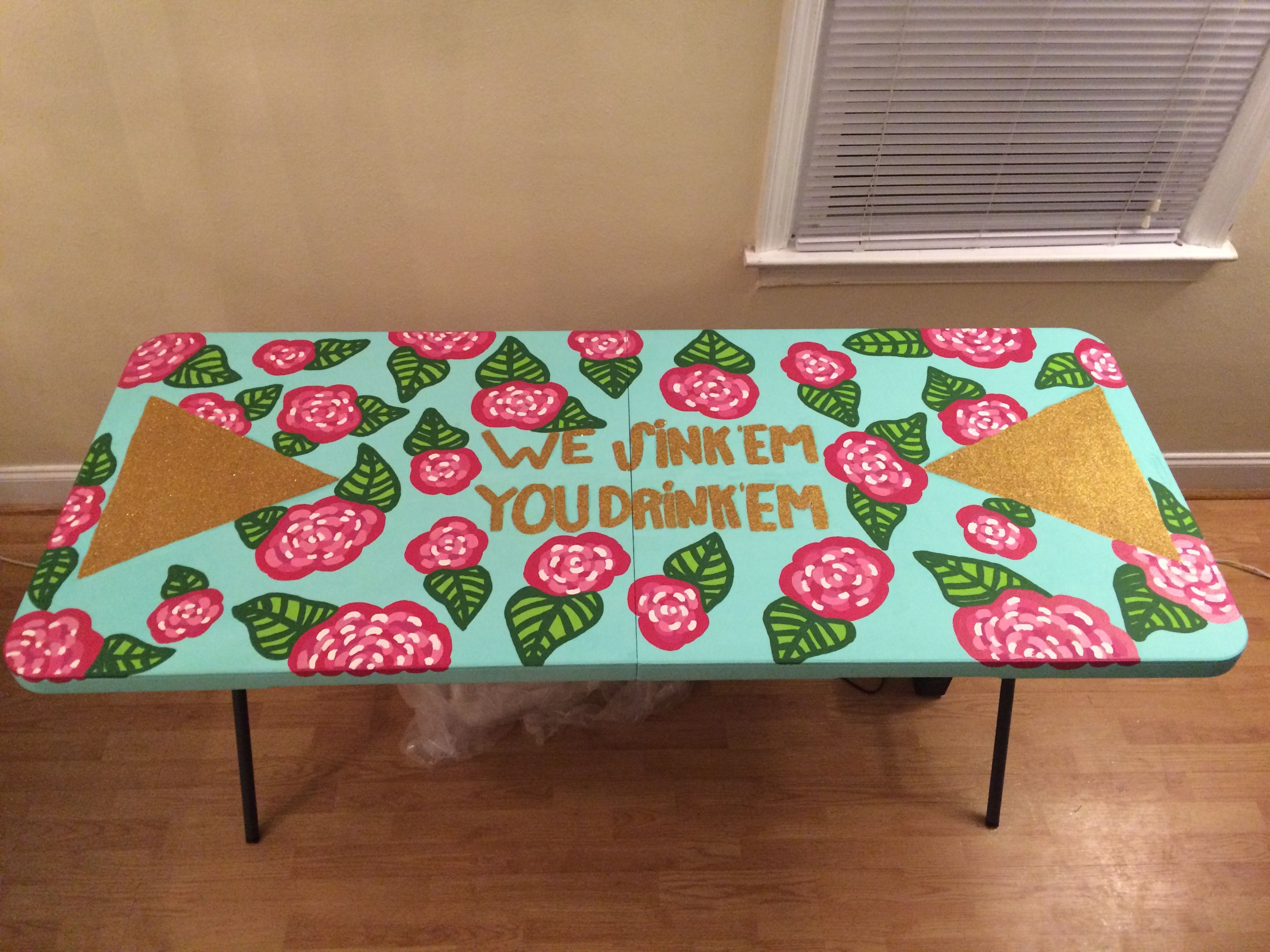 Homemade beer pong table - Making A Lilly Inspired Beer Pong Table Tsm