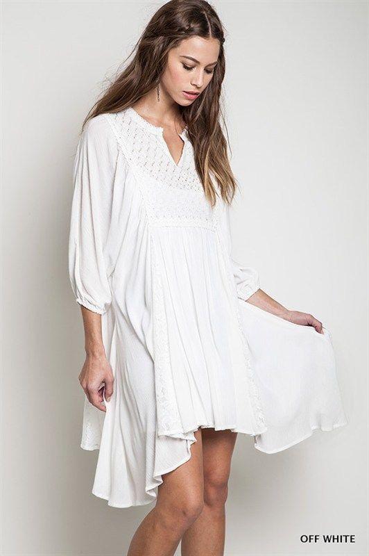 c2ee3423c9ab45 Umgee White Boho Hippie-Chic Lace Trimmed Midi Dress Cotton Lace BabyDoll  Dress #UMGEE #BabyDollDress #Casual