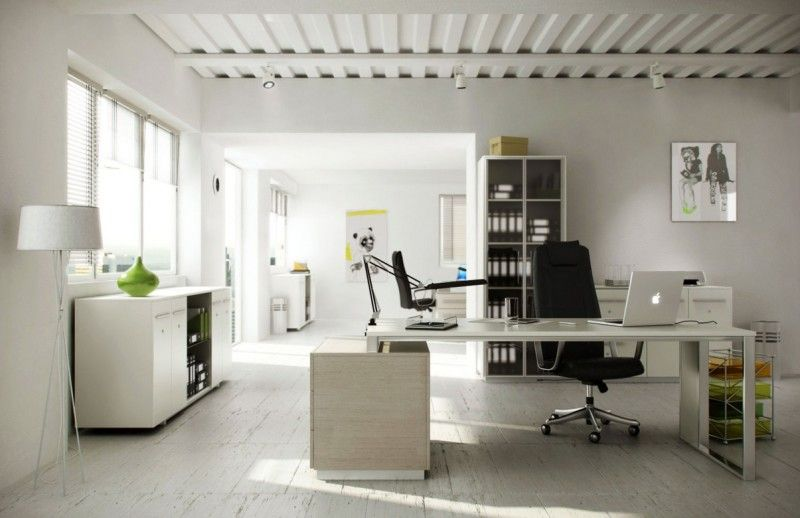 Interior Decor Ideas For Home Office With White Color Scheme And Floor Lamps