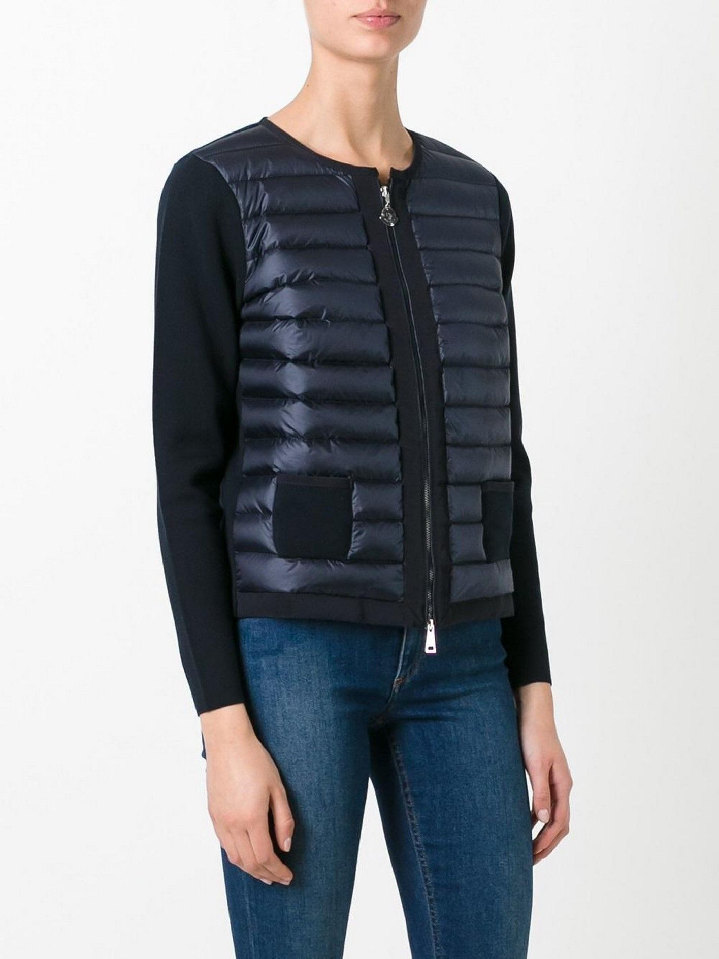 MONCLER Cropped Spring-summer down cardigan navy XS ML XL ...