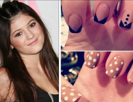 love the top nail design  tuxedo nails kylie jenner