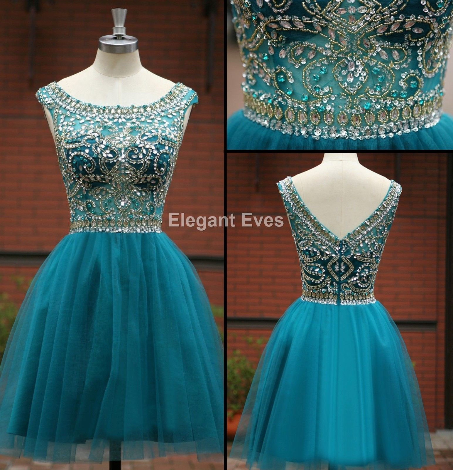 Nice Awesome Boat Neck Blue Gold Bead Formal Evening Short Prom Ball ...
