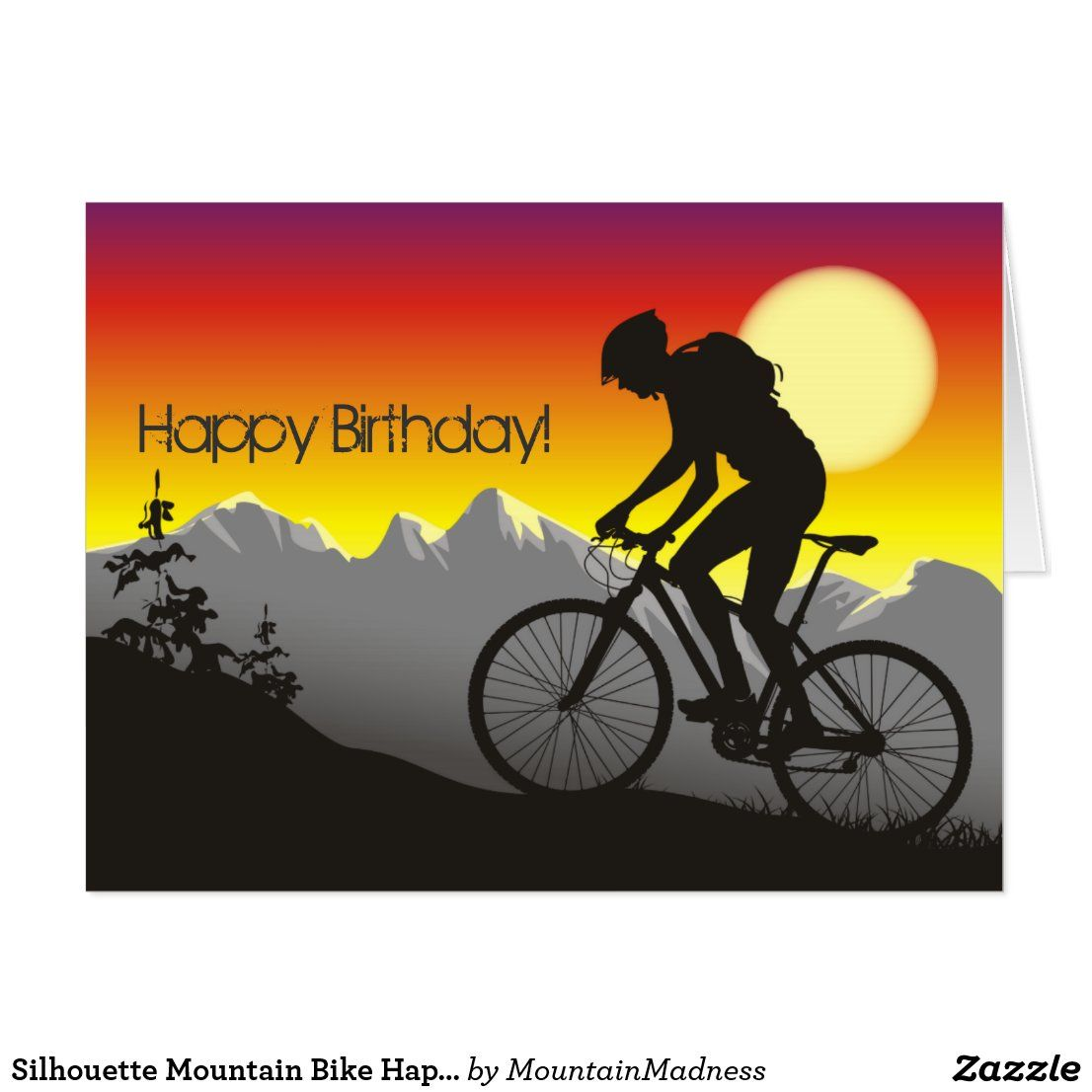 Silhouette Mountain Bike Happy Birthday Big Card Zazzle Com Happy Birthday Man Happy Birthday Greeting Card Happy Birthday Biker