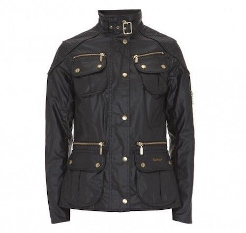 uk store outlet on sale sneakers BARBOUR National Trials Jacket Black Waxed Wax Biker Womens ...