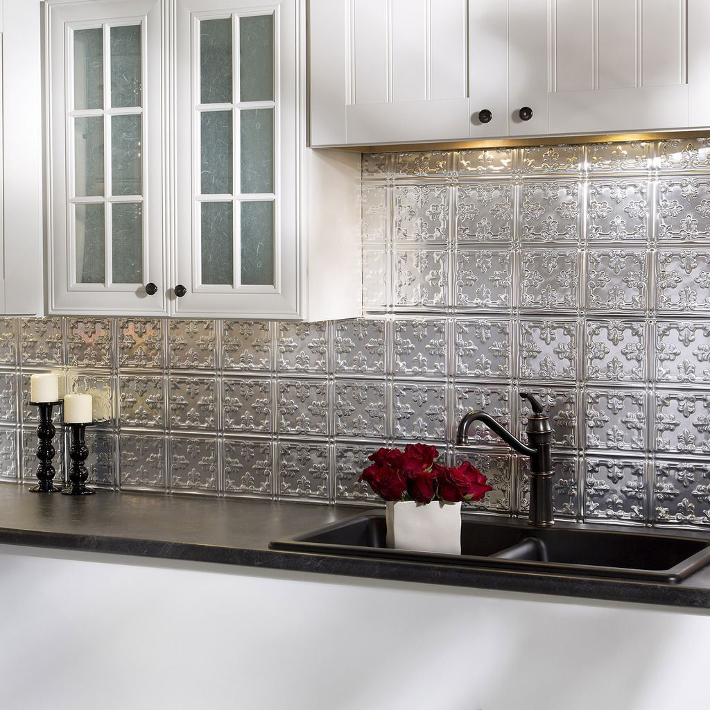 Backsplash Panels: Fasade Traditional Style #10 Brushed Aluminum 18 In. X 24