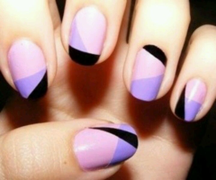 Purple Geometric Nails