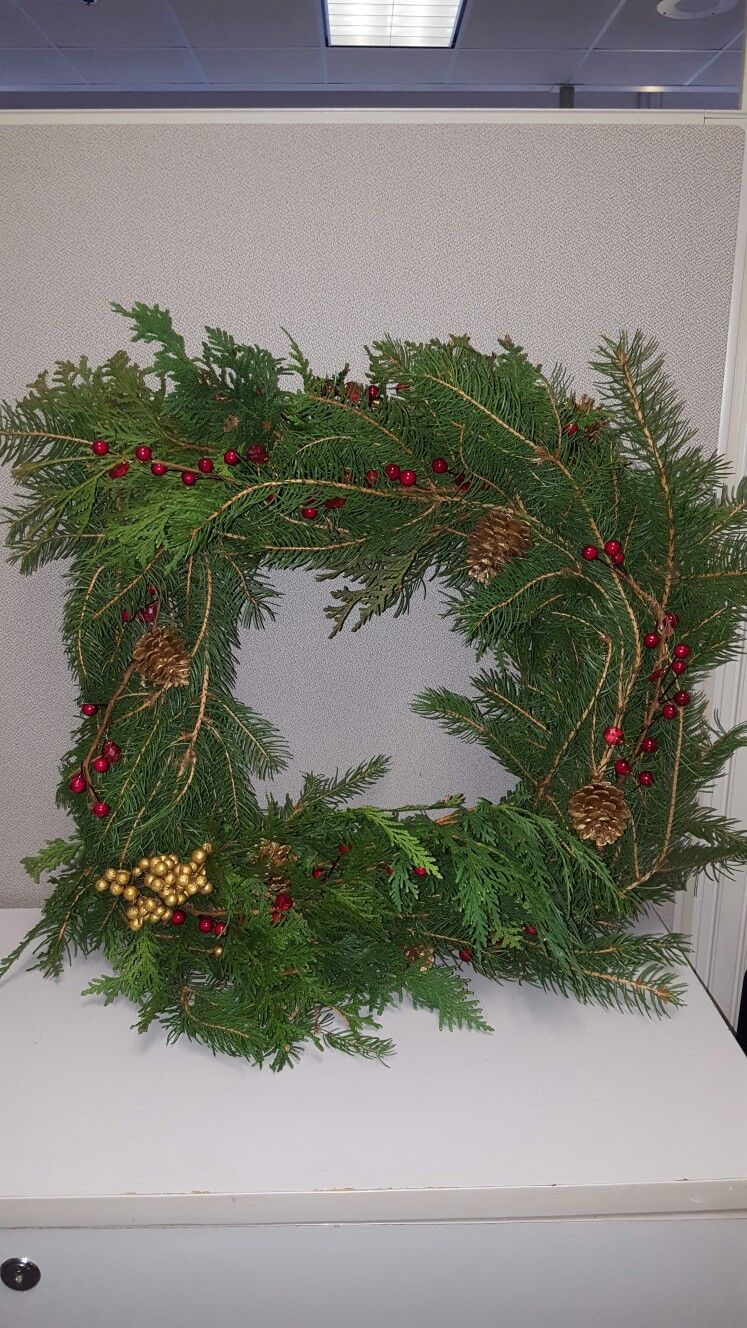 Christmas Wreath On Square Wire Frame Christmas Decorations