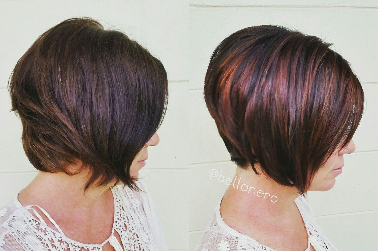 Dark Brown Inverted Short Bob With Copper And Red Violet Highlights Red Highlights In Brown Hair Hair Highlights Purple Hair Color Highlights