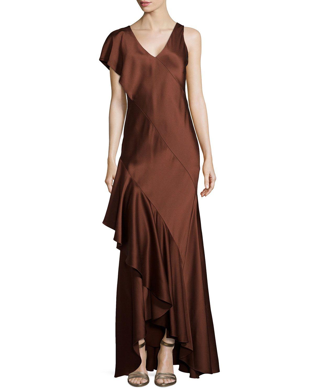 Jason Wu Silk Slip Gown with Back Cascade, Women's, Size: 6, Brown