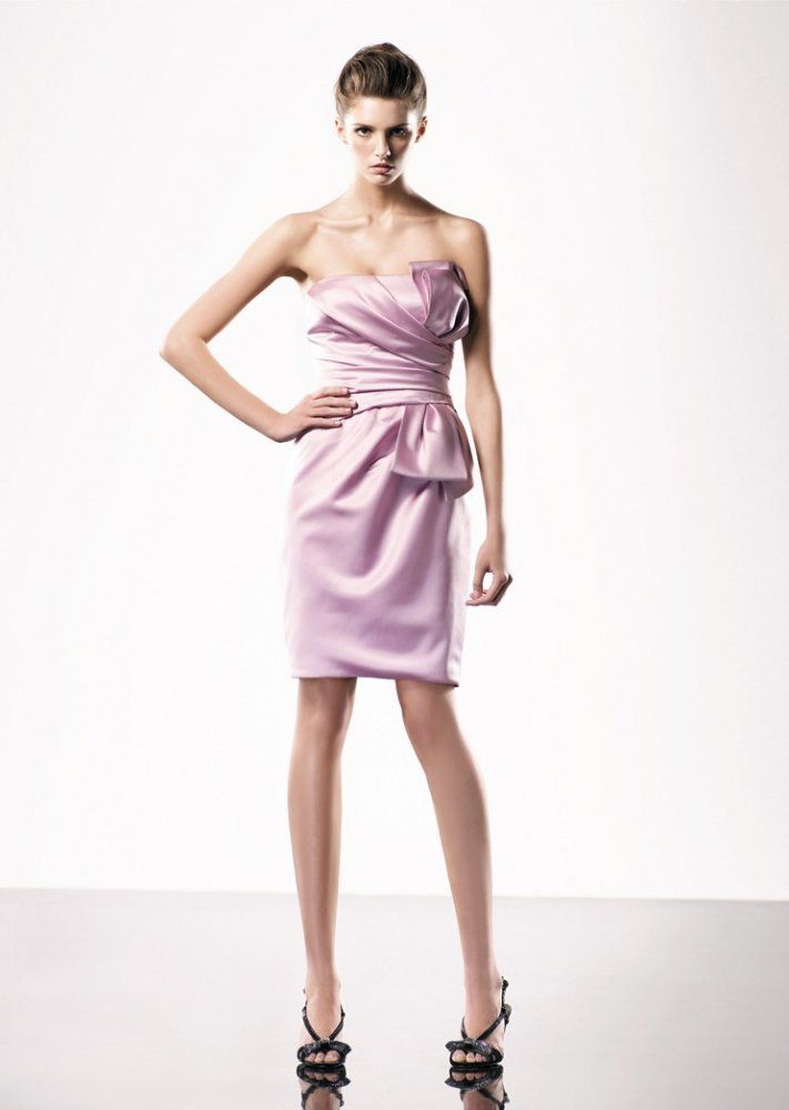 A-line Strapless Pleated Bodice Empire Waist Bow Satin Cocktail Dress-soc0010, $149.95