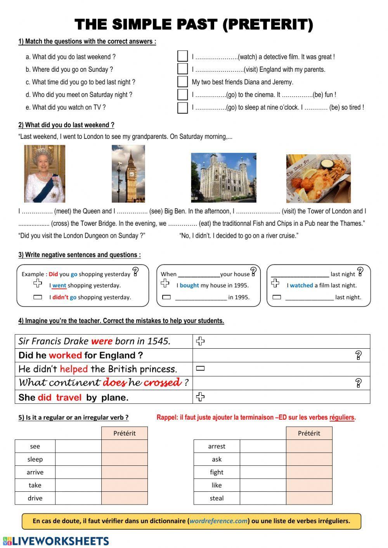 The Simple Past Interactive Worksheet Preterit Anglais Apprendre L Allemand Exercice Anglais [ 1413 x 1000 Pixel ]