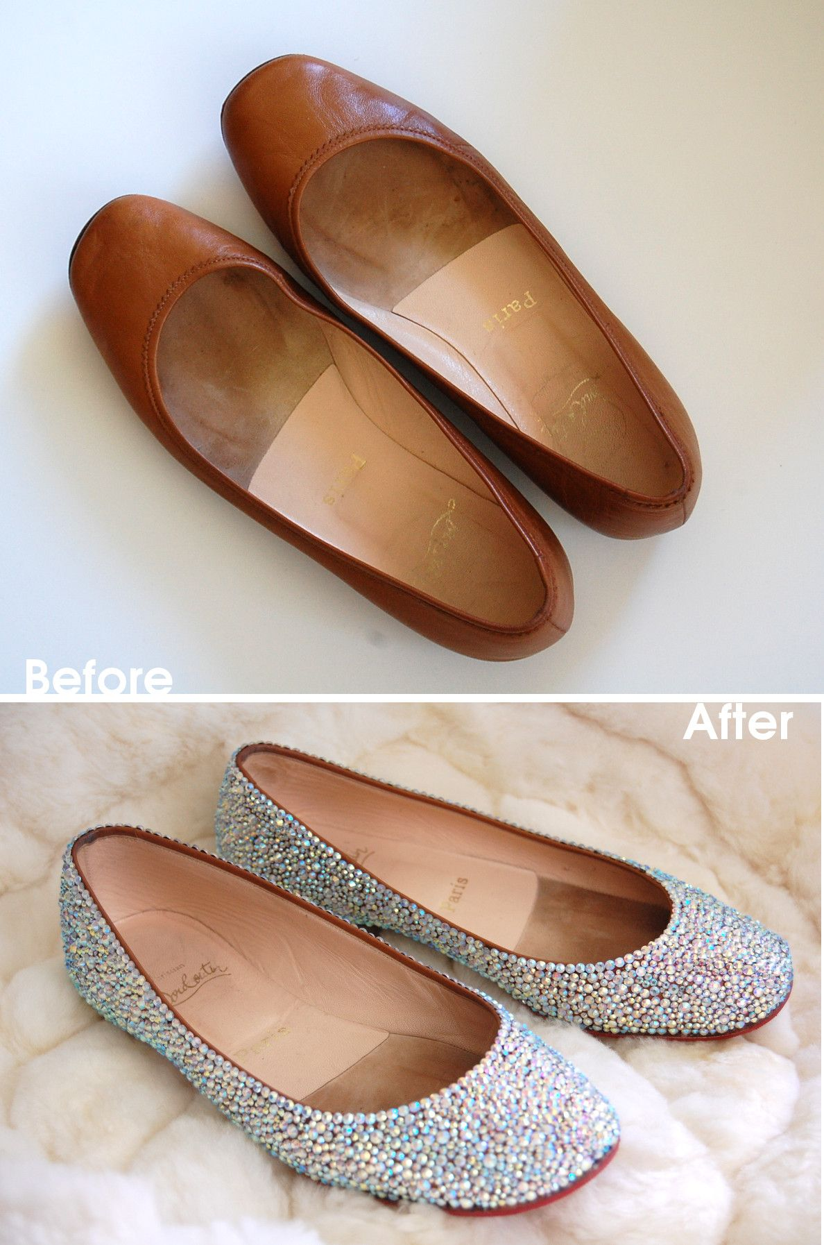 before and after a pair of christian louboutin flats get covered