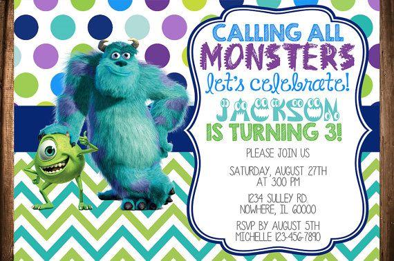 Monsters Inc Birthday Invitation Monster Inc Birthday Monsters Inc Monster Inc Party