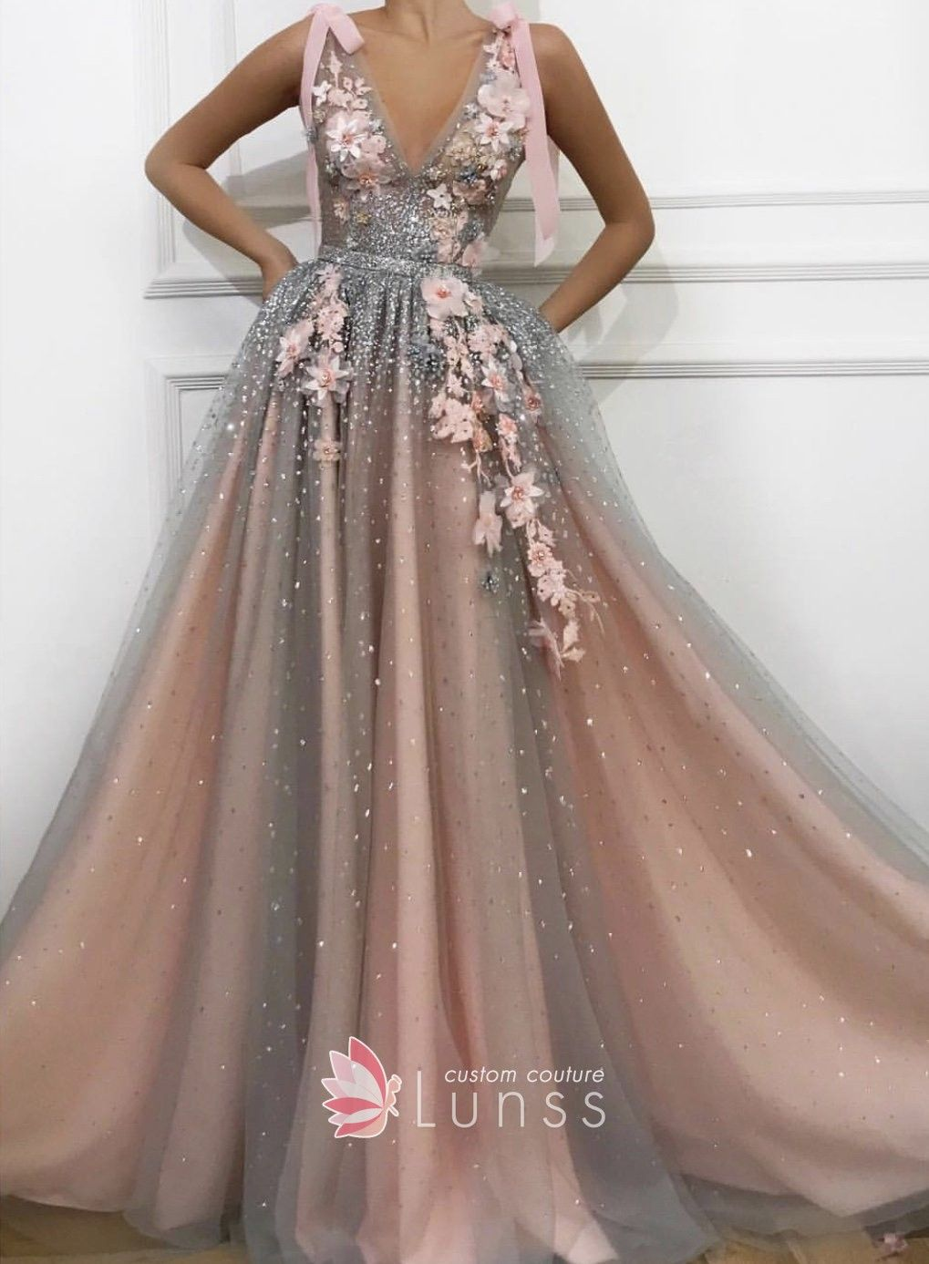Embroidered flowers embellished and beaded nude pink color long evening  special occasion gown. A-line silhouette with V neckline. 5002566b5317