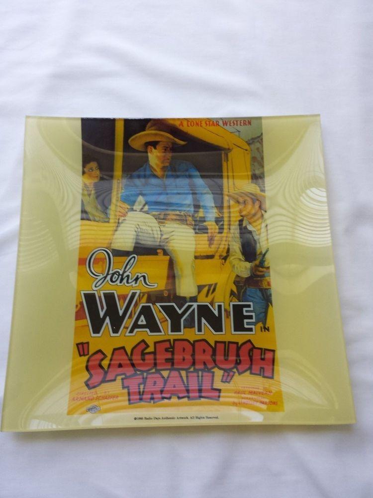 John Wayne Plate Sagebrush Trail A Lone Star Western Square Plate Vintage Square Plates Plates Lone Star