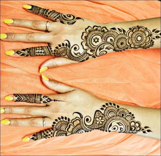 100 Gambar Henna Tangan Yang Cantik Dan Simple Beserta Cara Membuatnya Mehndi Designs Hand Henna Foot Henna