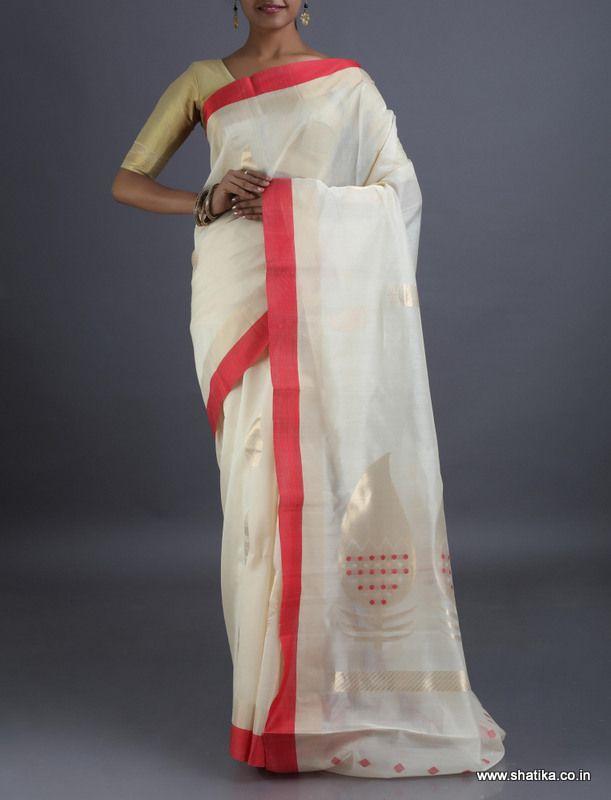 Bhavana Pristine White And Red Coimbatoresilkcottonsaree
