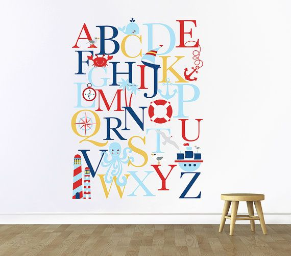 Alphabet Wall Decal Nautical Nursery Decals Playroom Play Room Sticker Custom 35a
