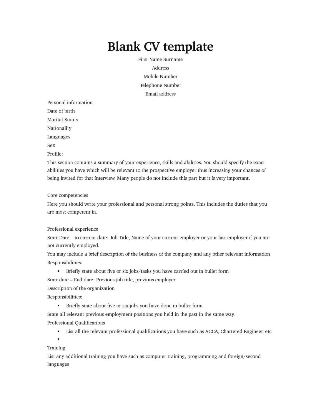 Blank Cv Template Pinfree Resume Templates Sample Intended For