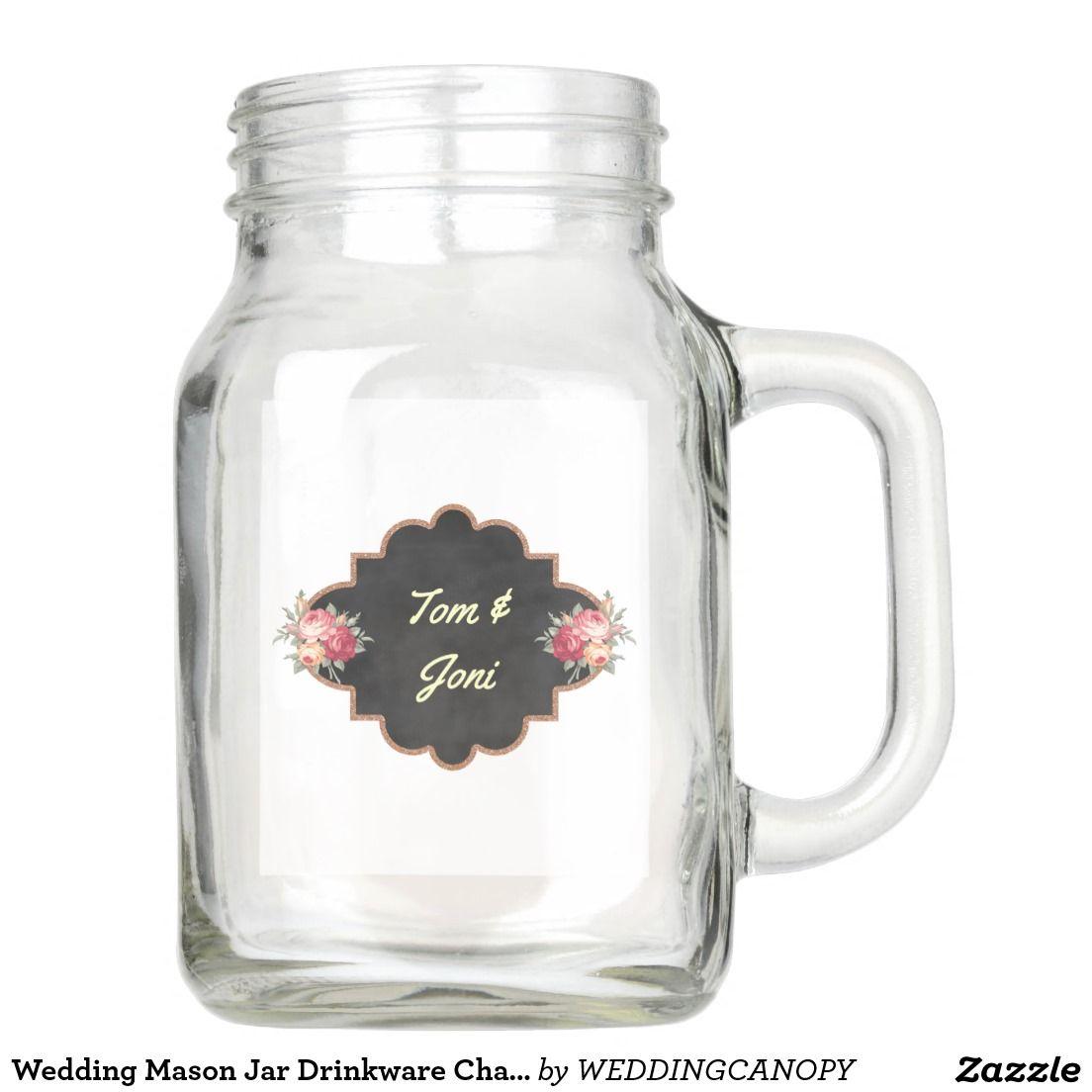 Wedding Mason Jar Drinkware Chalkboard Floral | Chalkboards, Jar and ...