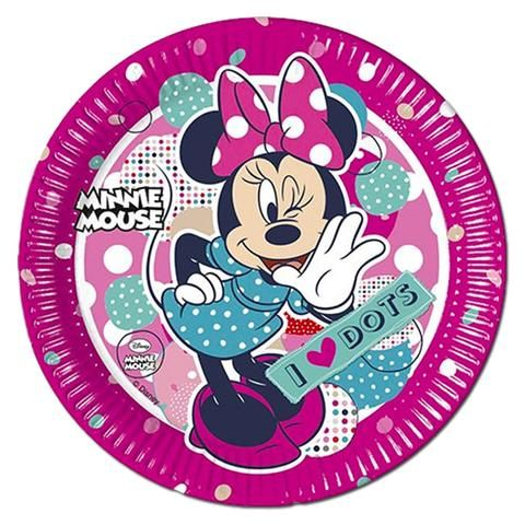 Minnie Mouse I Love Dots Paper Plates Pack Of 8 Minnie Mouse Pink Childrens Party Supplies Minnie