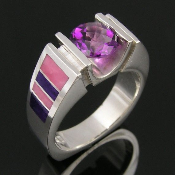Sugilite and Opal Ring in Sterling Silver