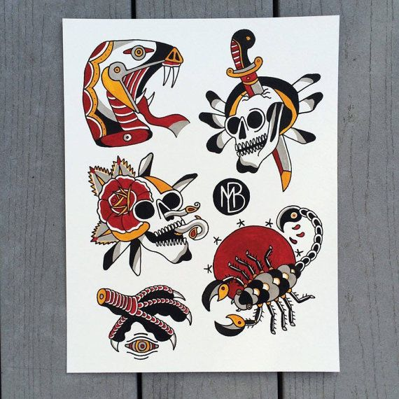 American Traditional Tattoo Flash Sheet By Goblinlogic On Etsy Traditional Tattoo Flash Sheets Traditional Tattoo Flash Tattoo Flash Sheet