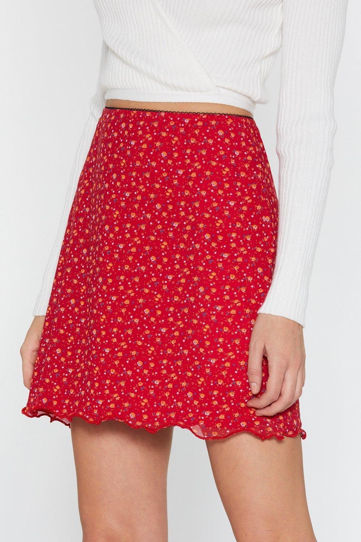 74a33aab25 Ditsy Floral Mesh Lettuce Hem Mini Skirt | Shop Clothes at Nasty Gal!