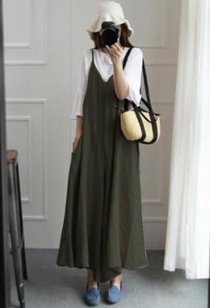 a6d400e930f ZANZEA Summer Women Strappy V Neck Wide Leg Pants Casual Jumpsuits Rompers Cotton  Linen Bib Overalls Loose Dungarees Plus Size