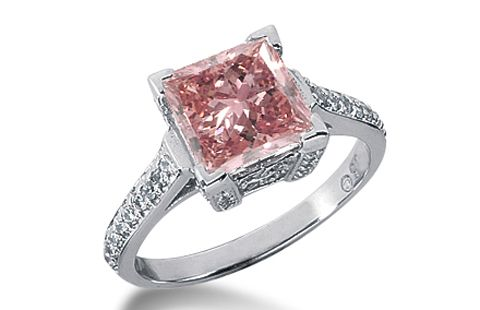 238 Ct Princess Cut Pink Diamond 14k White Gold Ring