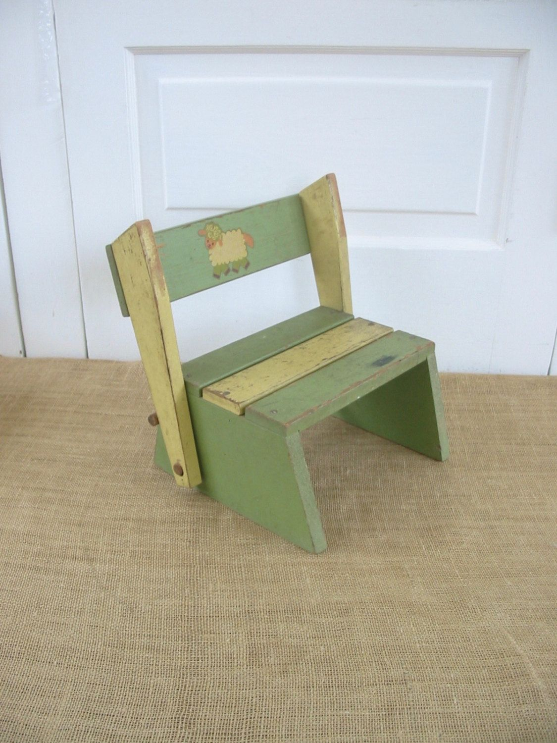Astounding Vintage Child Chair Child Stool Green Yellow Nursery Decor Onthecornerstone Fun Painted Chair Ideas Images Onthecornerstoneorg