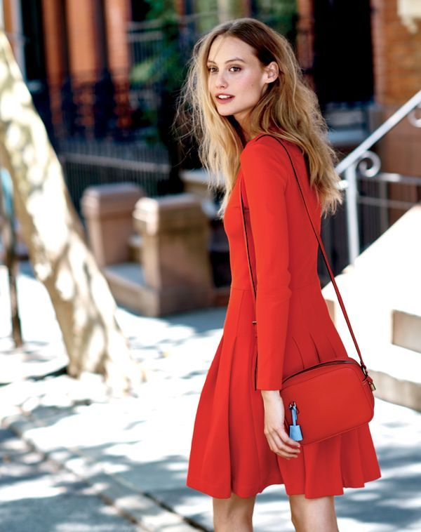 The J.Crew women's pleated dress in brilliant flame.