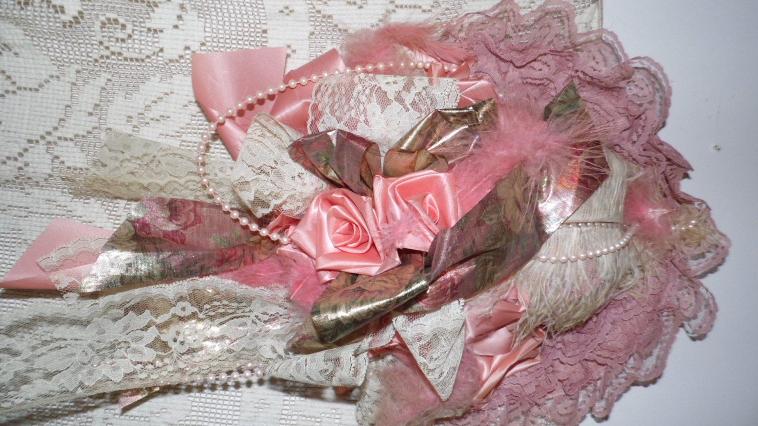 Victorian Wedding Wall Decor Hat Pink Lace/Faux Pearls/Real Feathers ...