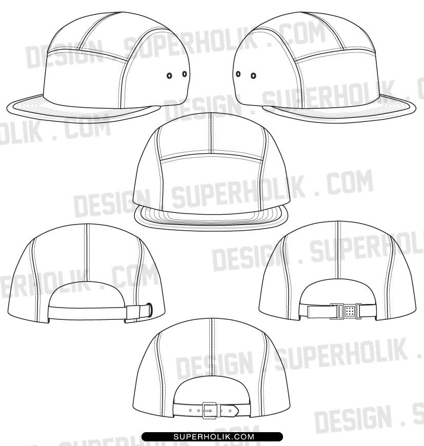 5 panel hat template | Fashion Vector Templates by SUPERHOLIK ...