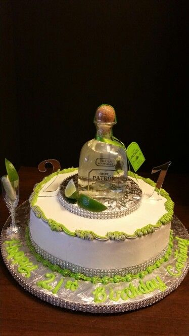 Excellent 21St Birthday Cake With Patron With Images Alcohol Cupcakes Personalised Birthday Cards Veneteletsinfo