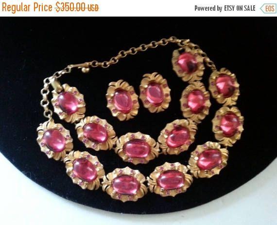 ca26907333b63 On Sale Rare Vintage Tara Parure Pink Rhinestone Designer. Designer Signed  Tara Hot Pink Vintage Jewelry ...