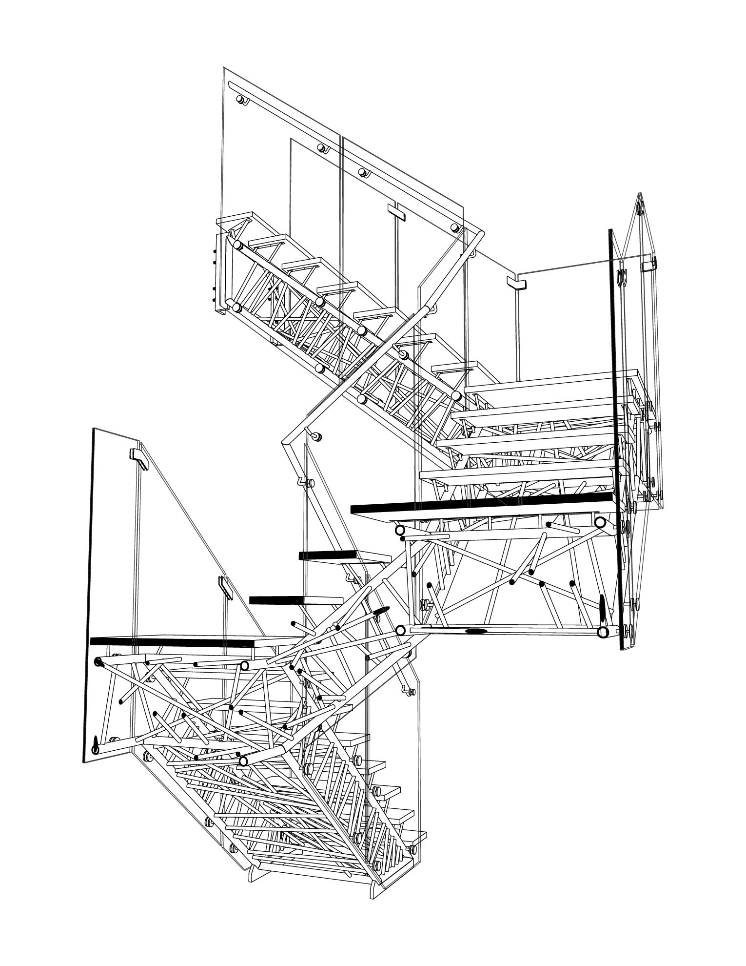 Genetic Stair Section Perspective Drawing Caliper Studio, 2006 2008 #stair # Structure #drawing #section #perspective #architecture #design  #visualization
