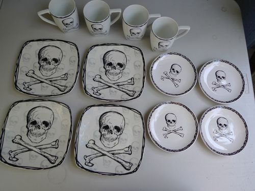 Unique Dish Set Skull Cross Bones Gothic Plates Mugs Matched Halloween  Spooky In Collectibles, Kitchen U0026 Home, Tableware, Other Collectible  Tableware