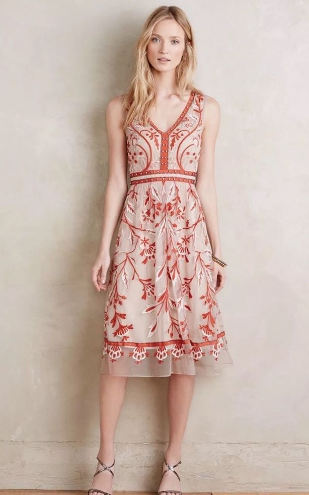 ANTHROPOLOGIE by MOULINETTE SOEURS Alicante Dress Sz 2 -New ...