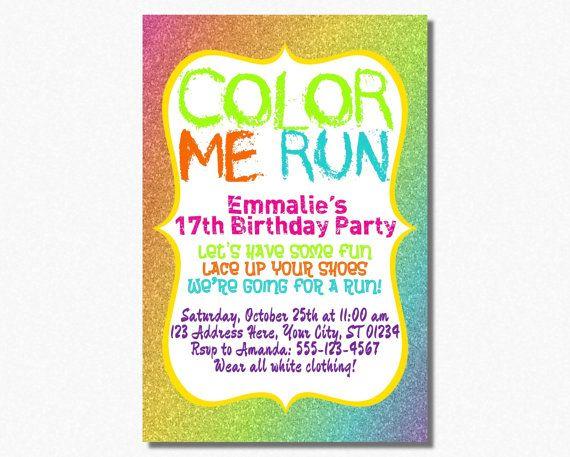 Color run invitation color run birthday party by puggyprints color run invitation color run birthday party by puggyprints 799 stopboris Image collections