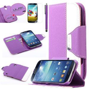 Pandamimi ULAK(TM) PU Leather Flip Wallet Stand Cover Case for Samsung Galaxy S4 (Purple)