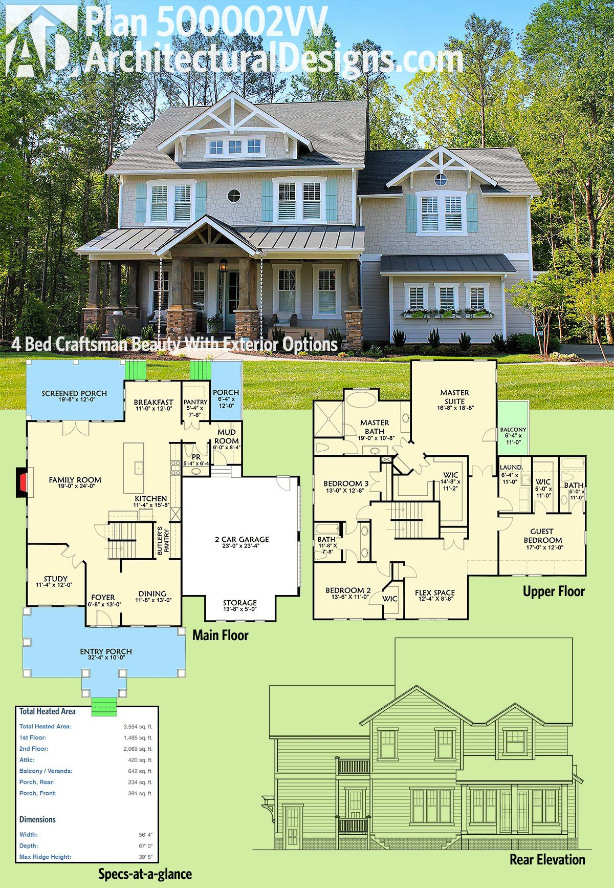 4 Storey House Design: Plan 500002VV: 4 Bed Craftsman Beauty With Exterior