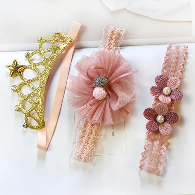 3Pcs//Set Small Ear Headband Lovely Bowknot Princess Head Decor Accessories GA