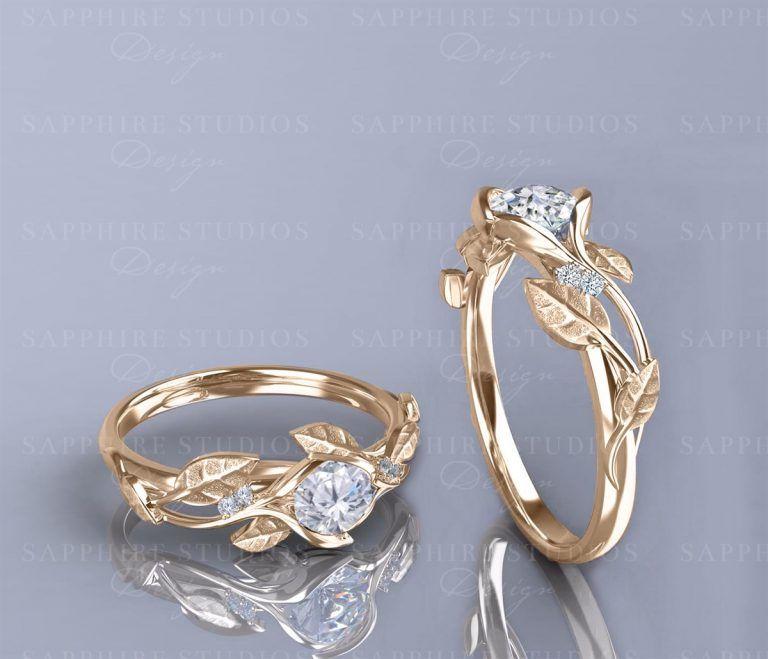 143d3b6daceea Ivy Fleur' 0.70ct Natural White Diamonds Gold Flower Vine Engagement ...