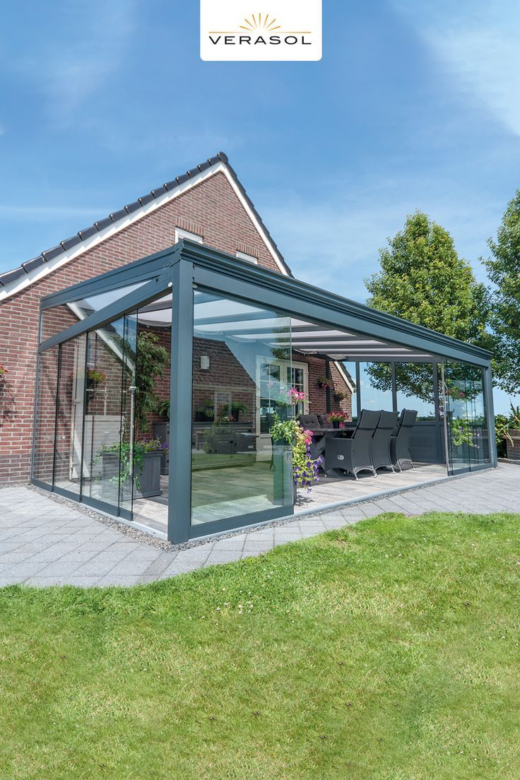 Moderne Schwarze Alu Überdachung terrasse | Profiline Gartenzimmer - Kaltwintergarten #Überdachungterrasse
