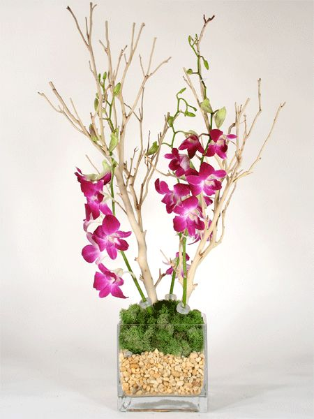 Manzanita and orchid centerpiece wedding pinterest