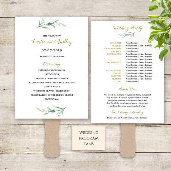 Fan Wedding Program Paddle Fan Greenery Printable Wedding Etsy Wedding Fans Wedding Program Fans Printable Wedding Programs